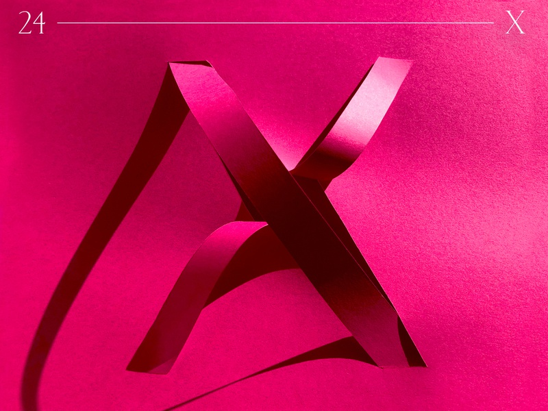 X   36 days of type origami type design goodtype typo custom type alphabet letter magenta shadow handcrafted 36 days of type 36daysoftype typography papercut branding paper art paper graphic design design illustration