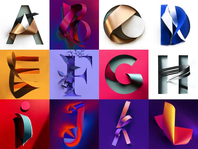 36 Days of Type 2020 - 7th edition layout gradient challenge lettering letter illustrator goodtype colorful color type 36 days of type 36daysoftype typography papercut branding paper paper art graphic design design illustration