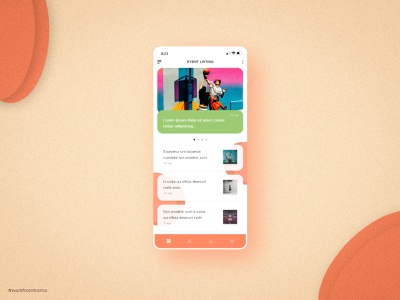 Daily UI 70 -  Event Listing workfromhome orange sport application daily 70 responsive web mobile adobe xd dailyui daily 100 challenge daily challange ux ui design colorful branding app