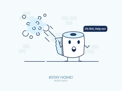 Toilet Paper illustration design panic covid-19 illustraion vector toilets stay safe stay home toilet 2020 crisis coronavirus corona toilet paper