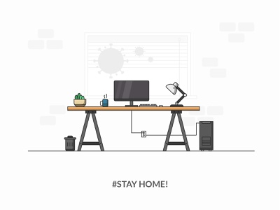 Home office homeoffice minimalist home desktop office virus design 2020 trend 2020 illustraion illustrator stay safe stay home workfromhome coronavirus corona