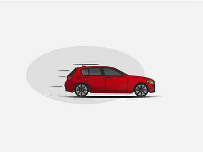 BMW retro flat illustration flat stroke vehicle fast sport moving auto red bmw car vector illustration design