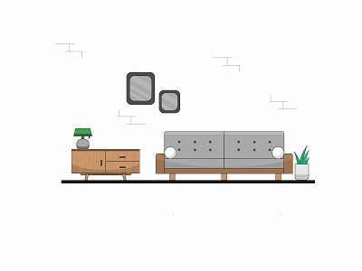 Flat Room vector illustration vector table room plants design art illustrator illustrations illustration sofa flat  design