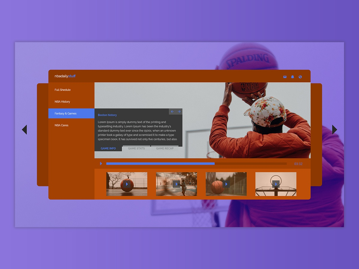 Video dashboard video menu bar dashboard design design app orange purple basketball dashboad dashboard ui app ui ux design