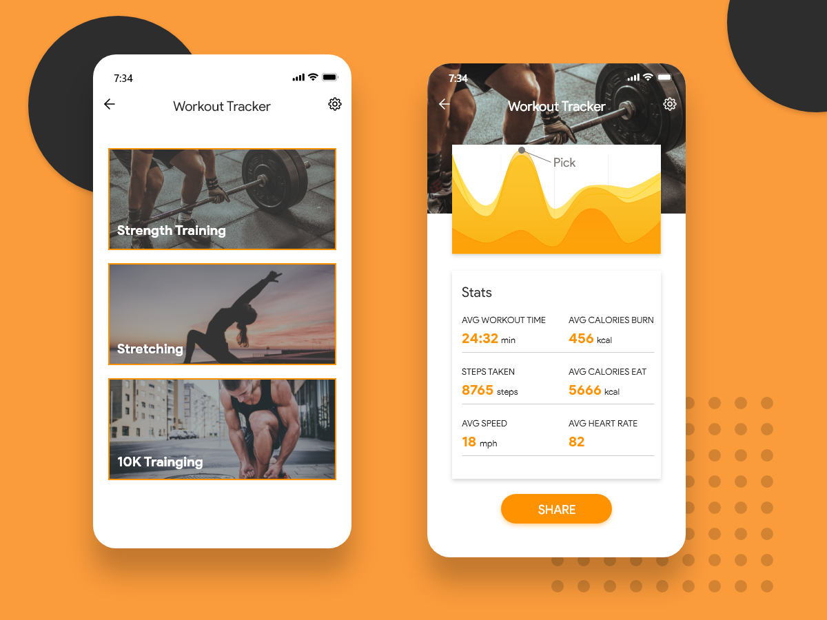 Daily UI #041 - Fitness Tracker interfacedesign fitness workout daily 100 challenge adobe xd dailyui daily challange app ui ux design tracking fitness app