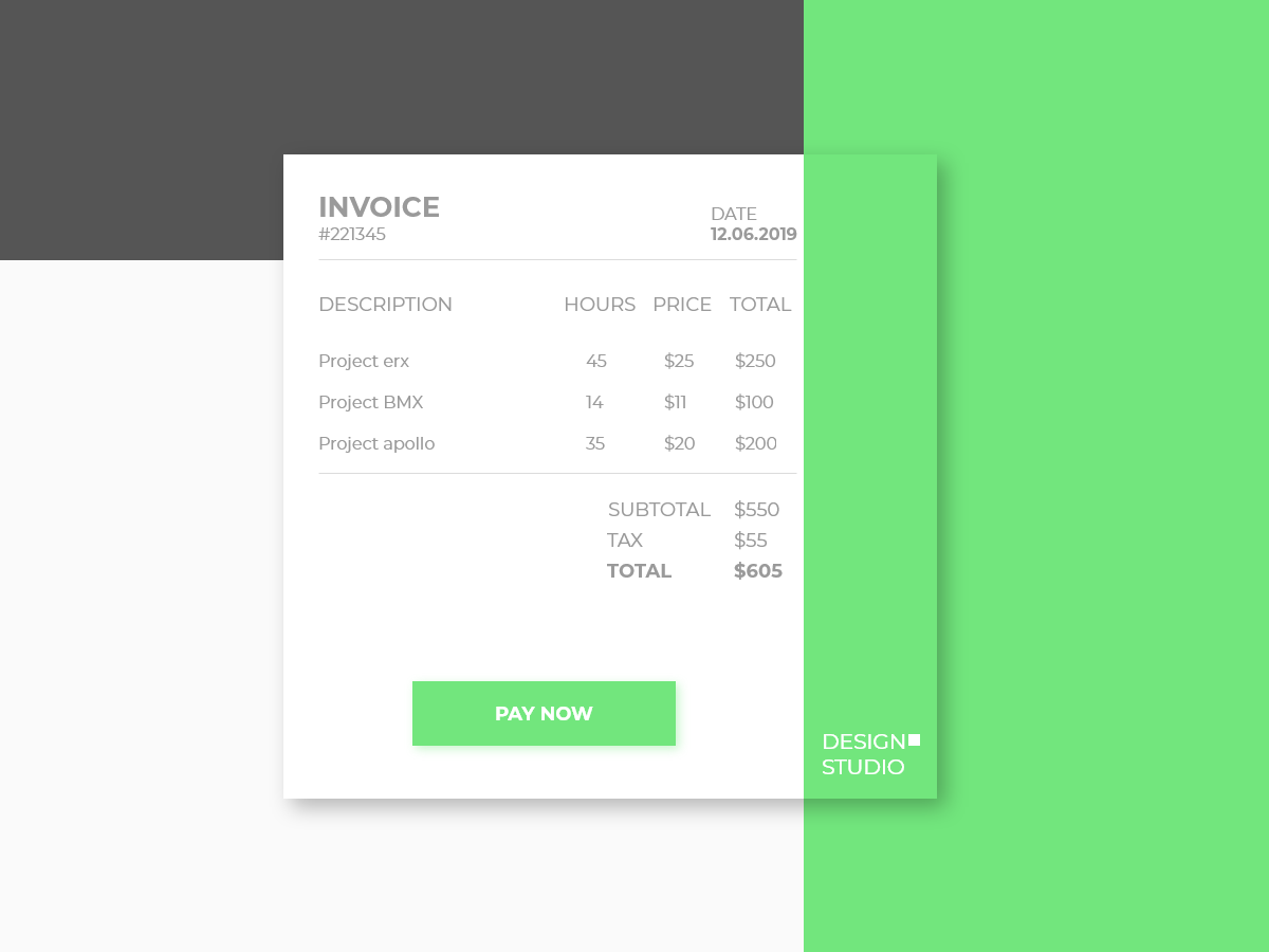 Daily UI #046 - Invoice 46 minimal invoice template invoice design invoice typography branding vector daily 100 challenge adobe xd dailyui daily challange ui ux design