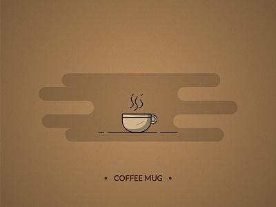 Coffee mug - coffee set branding grain texture coffeeshop outline icon outline design illustraion illustrator coffee mug coffee morning cafe