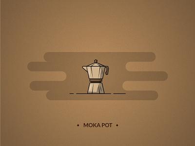 Moka pot - coffee set line art icon pot set mug logo line branding design illustraion illustrator moka pot moka coffee