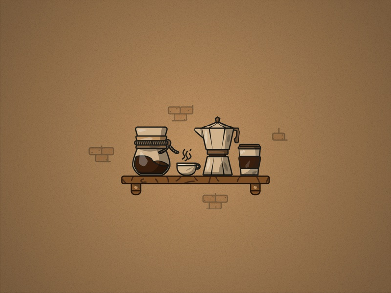 Coffee set texture grain illustration design paper cup chemex moka pot coffee mug coffee coffeeshop coffee service