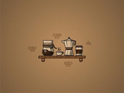 Coffee set texture grain illustration design paper cup chemex moka pot coffee mug coffee coffeeshop coffee service
