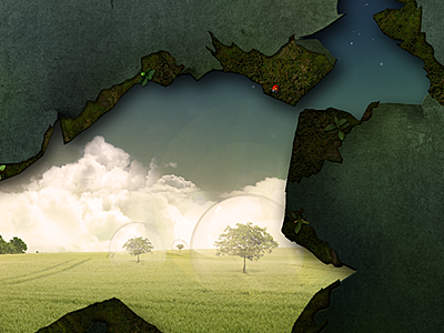 Through The Looking Wall wallpaper landscape photomanip hole spheres trees clouds wall