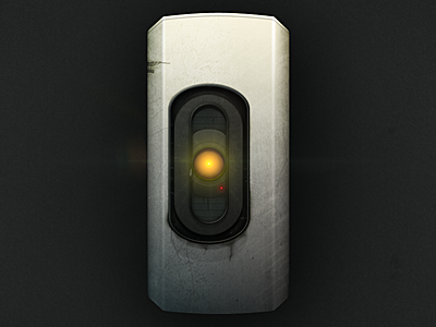 GLaDOS - WIP glados portal metal rust light flare red yellow