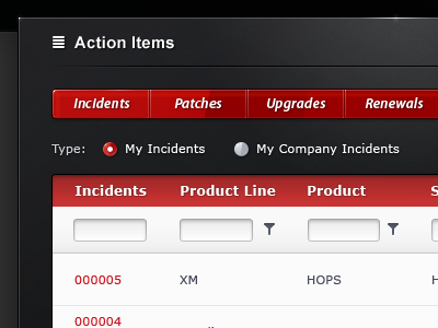 Infor Support - Action Items ui ux interface user interface dialog box popup web design web black red gloss buttons