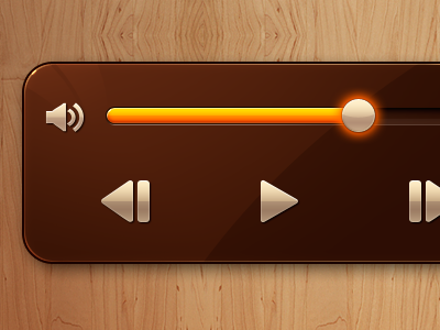 Video Controls iphone ios video icons controls volume gloss play bar wood brown orange yellow app