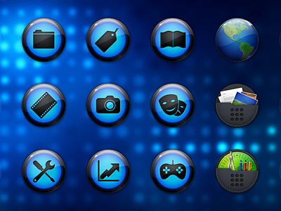 EXOPC Icons icons orbs gloss blue folders internet globe earth black