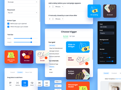 UI Concept for Widgets Setup Tool marketing pop-up buttons product design windows illustration widget ui design ux design set product ux ui web flat