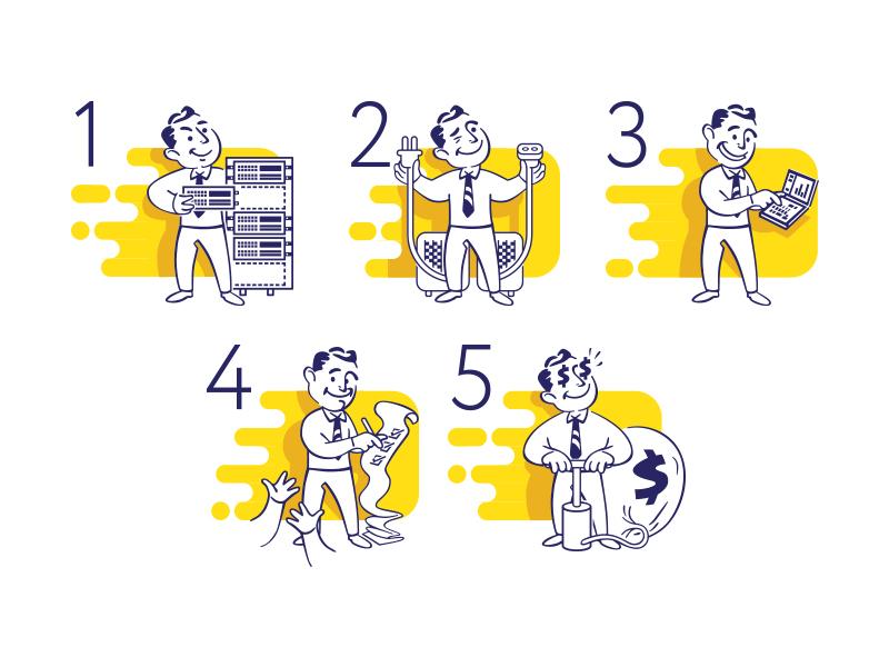 Characters for leaflet gentlemen flat yellow smile naas hosting web cloud server vintage character