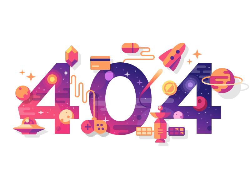 404 illustration rocket card gem satellite planet flat stars ufo space ui web 404