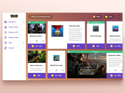 New UI icon sidebar flat web ux ui mmo online game cards storefront tablet