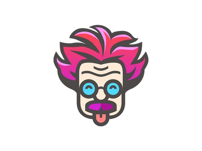 Megabotan (Branding) flat crazy scientist moustache glasses student web character geek branding brand logo