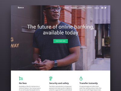 Bank landing page corporate company icons flat minimalistic bank e-commerce ui ux web interface landing page
