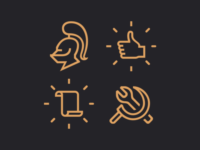 MMO icons wrench sickle scroll flat like success news helmet knight icons mmo life is feudal