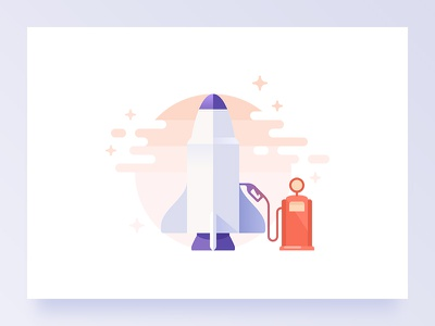Maintenance page illustration planet flat illustration spacecraft spaceship screen maintenance space stars gas rocket