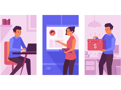Art for new landing page landing xsolla fund game funding money flat presentation women men office illustration