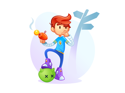 Illustration for the article thinking boy monster lazer blaster gun signpost ginger adventure space game character