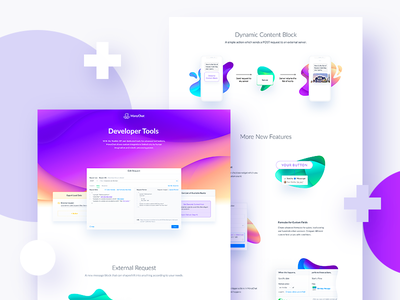 New feature landing bubble abstract gradient block color ux ui tool developer page feature landing