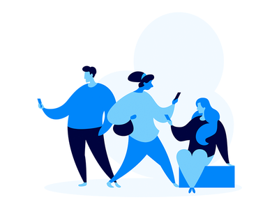 Audience blue marketing call phone man woman crowd audience landing e-commerce illustration flat
