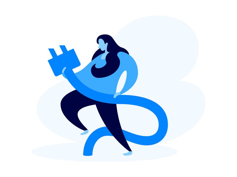 Get Subscribers art web illustration e-commerce business messenger marketing bot landing blue flat woman plug subscribers
