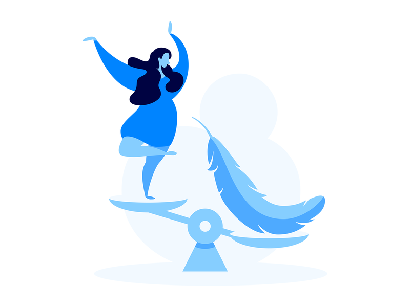 Cheaper Leads balance dance dress libra scales feather blue landing woman messenger marketing illustration e-commerce web flat