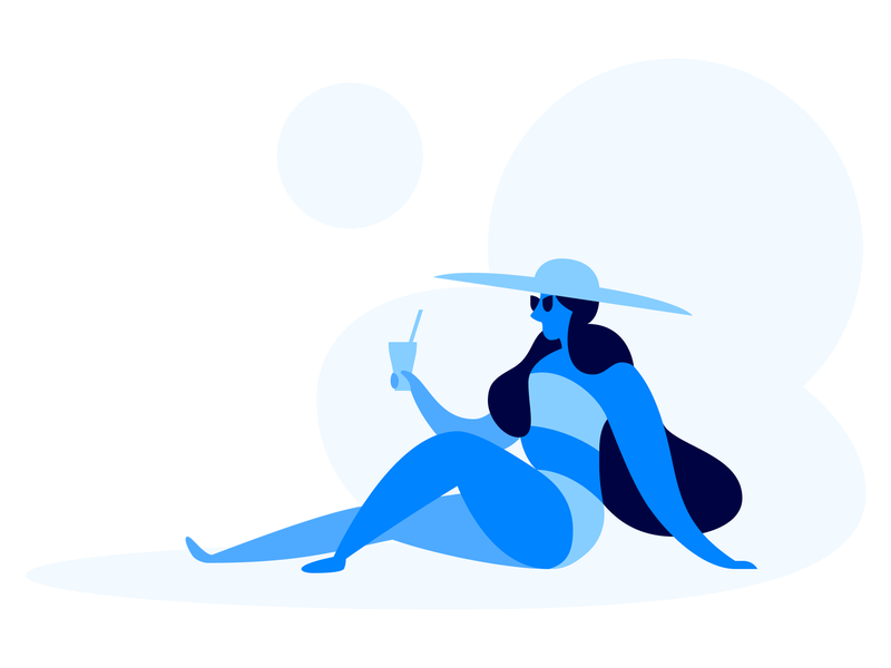 Warm Up Your Leads sun e-commerce hat girl web landing marketing vacation cocktail sunglasses blue flat hot warm up illustration