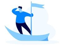Send Leads to Website business watch travel manage illustration blue lead flag sea cloud boat flat e-commerce marketing landing