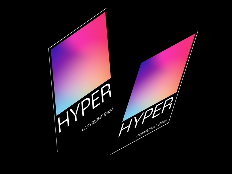 HYPER Poster 3dsmax black 3d copyright hype isometric isometry gradient graphic poster vector brand uidesign webdesign branding illustration minimal ui  ux design typography design