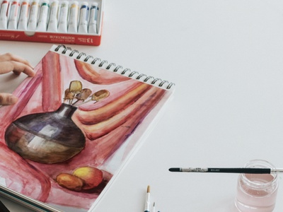 Still life watercolor watercolor paint drawing illustration color