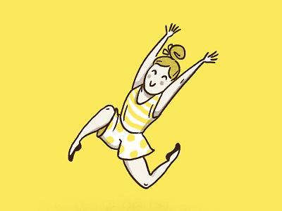 Summertime jump girl polka dots yellow sweet cute summer digital illustration illustration
