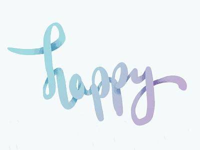 Happy  script type typography blue purple happy birthday happy dimensional type illustration hand lettering gradient lettering
