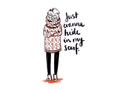 Wore it; Drew it  type brush lettering brush pen autumn cozy sweater scarf daily drawing sketch cute illustration