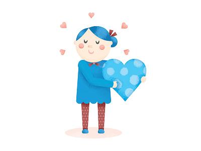 Hearts  pattern bows girl character vector illustration texture hearts cute illustration