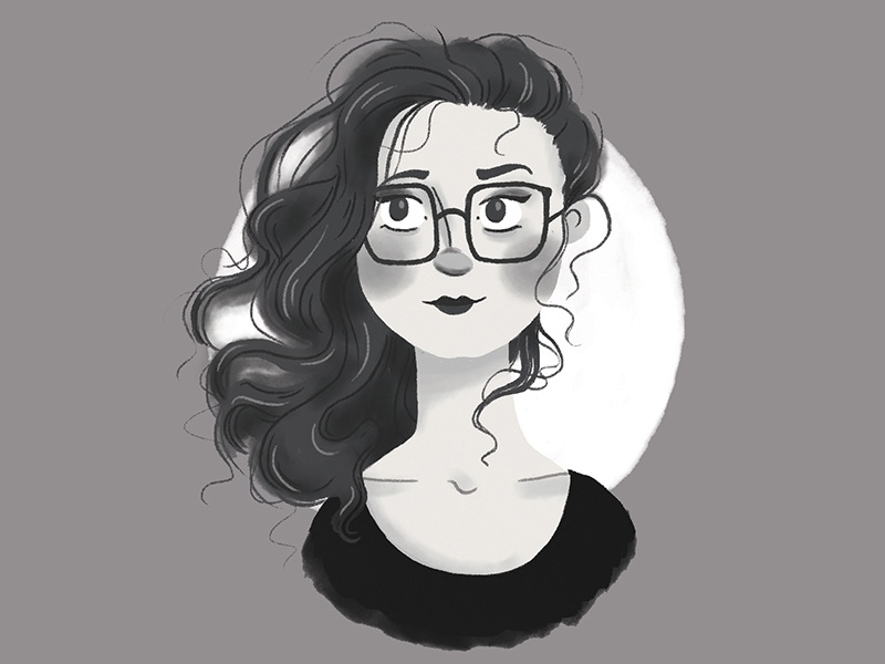 Post-bun Hair texture digital illustration sketch cute girl glasses hair portrait black and white illustration