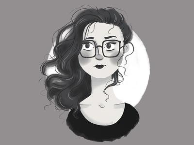 Post-bun Hair texture digital illustration sketch cute girl glasses hair portrait black and white illustration