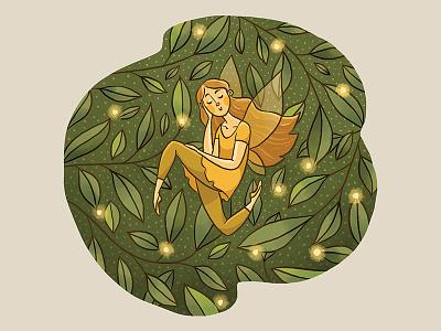 Fall Fairy magic portrait leaves nature autumn fairy digital illustration illustration
