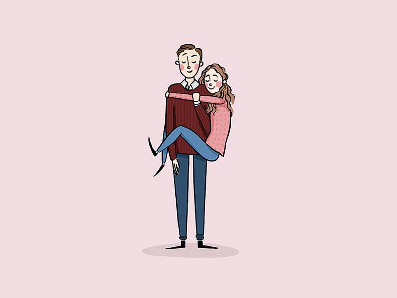 Love couple portrait romance love digital illustration illustration