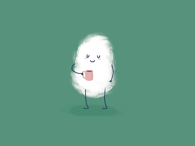 Tired Fluff mondays tired sleepy coffee love coffee cute art cute illustration childrens art cute illustration