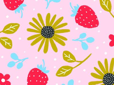 Summer Lovin floral illustration playful pattern design surface design childrens illustration fruit pattern flower pattern sunflower strawberry cute digital illustration illustration