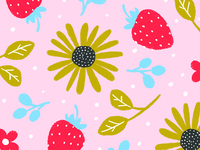 Summer Lovin floral illustration playful pattern design surface design childrens illustration fruit pattern flower pattern sunflower strawberry cute digital illustration illustration