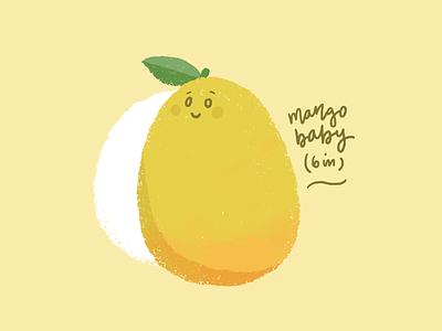 Mango Baby kids illustration fruit illustration baby growth pregnancy baby mango digital illustration cute illustration