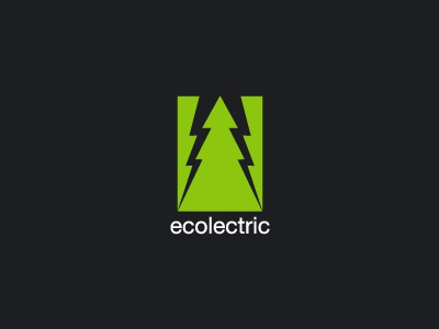 Ecolectric logo identity branding eco negative space electric green